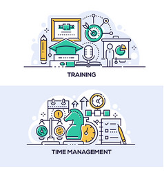 Training and time management banner templates set vector