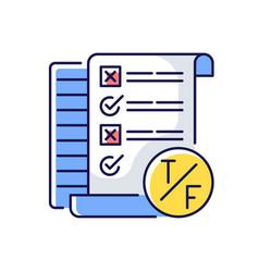True false test rgb color icon vector