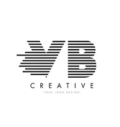 vb v b zebra letter logo design with black and vector image