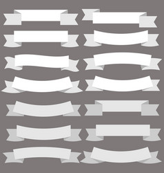 vintage white banner ribbon on gray background vector image