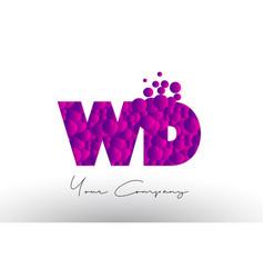 Wd w d dots letter logo with purple bubbles vector