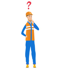 young caucasian builder with question mark vector image