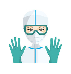 Young female doctor with sanitary protection vector