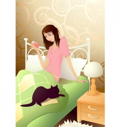 young girl in the morning vector image