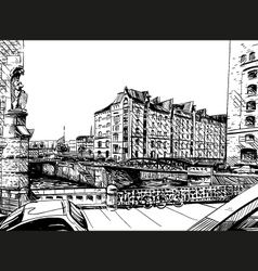 City hand drawn Street sketch vector image
