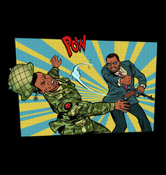 civil beats invader military soldier vector image