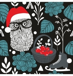 Night owl seamless pattern for Christmas vector image