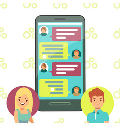online phone chat concept - girl and boy cell vector image