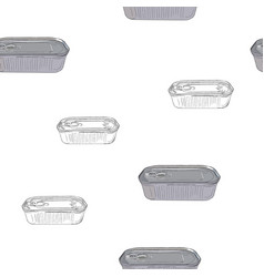 opened and closed food tin cans seamless pattern vector image