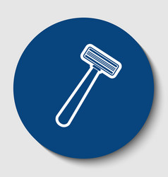 safety razor sign white contour icon in vector image vector image