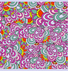 seamless abstract hand-drawn waves pattern floral vector image vector image
