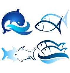 Set fish vector image vector image