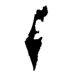 black silhouette country borders map of israel on vector image