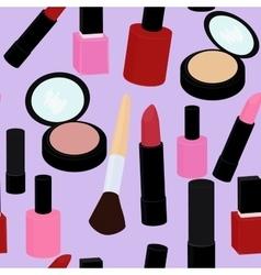 cartoon pink and red nail polish lipstick vector image vector image
