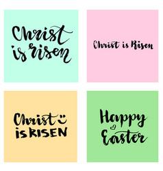 christ is risen easter lettering set happy vector image
