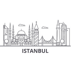 istanbul architecture line skyline vector image vector image