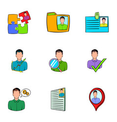 job search icons set cartoon style vector image vector image