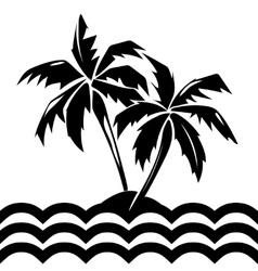 Tropical island and palm trees vector image