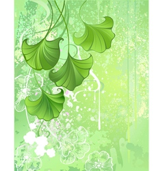 background with spring green leaves vector image