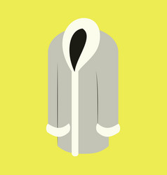icon in flat design fashion clothes fur coat vector image