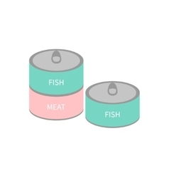 Pet cat dog food tin can with ring Wet cat eating vector image