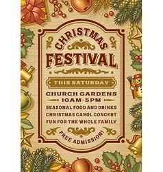 Vintage christmas festival poster vector