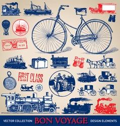 Vintage travel set vector image vector image