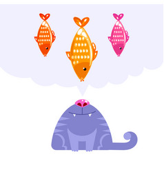 cat character looking up to fish dream vector image