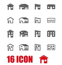 grey house icon set vector image vector image
