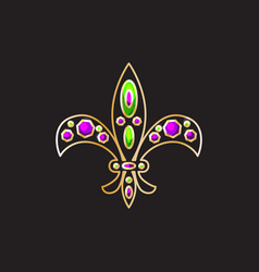 royal fleur-de-lis with gems and gold contour vector image