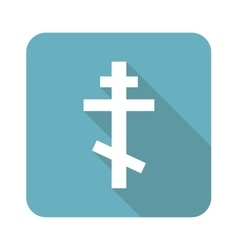 Square orthodox cross icon vector image