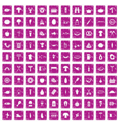 100 barbecue icons set grunge pink vector