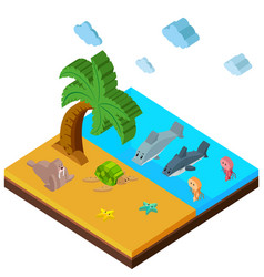 3d design for beach scene with lots of animals vector