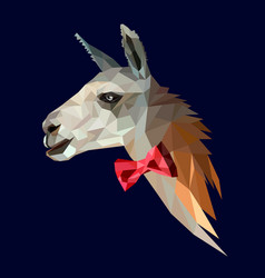 anthropomorphic llama hipster in a red bow tie vector image