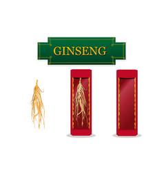 Asian ginseng in showcase gift box in flat vector