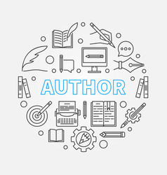 author round made with line vector image