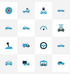 Automobile colorful icons set collection of gear vector