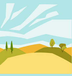 autumn landscape with trees and hills seasonal vector image
