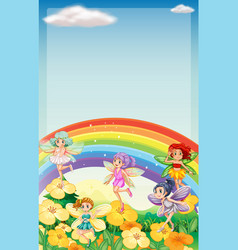 Background scene with fairies flying over rainbow vector