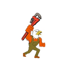 Bald Eagle Plumber Monkey Wrench Cartoon vector image