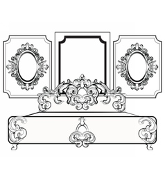 Baroque royal set of furniture vector