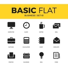 Basic set business icons vector