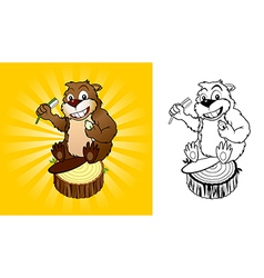 Beaver with a toothbrush vector image