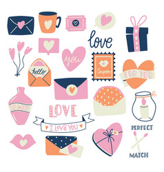 big collection love objects and symbols vector image