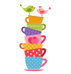 Birds and tea cups vector image