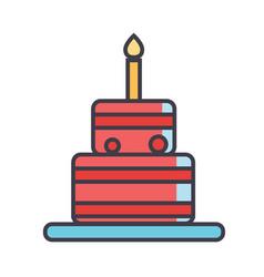 birthday cake concept line icon editable vector image