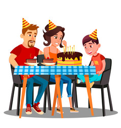 birthday of child family sitting at the party vector image