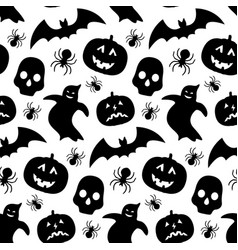 black and white seamless pattern with pumpkin vector image