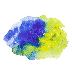 Blue and yellow watercolor splash stain vector