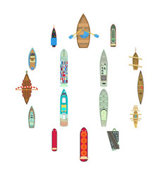 boat top view above over icons set cartoon style vector image